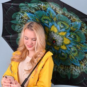 Double Layer Inverted Umbrella in Peacock Print